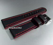 Eulit * Lederband für Uhren * Uhrenarmband * Olymp * schwarz / rot * 20 - 26 mm