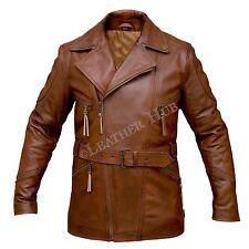 Mens Brown 3/4 Motorcycle Winter Biker Long Cow Hide Leather Jacket