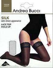 Andrea Bucci Brillo Seda Raso Encaje Arriba Hold Ups 10 Denier 1 par estancia UPS