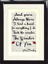 Elvis Presley The Wonder of You Music Gift Love Song Lyric Dictionary Art Print