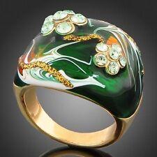 Amazing Beautiful Enamel Alloy Ring Round Cut Crystal Stones Beauty Size 6 7 8 9