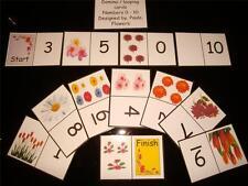Numeri 0 - 10 DOMINO / LOOPING numeri schede disponibili in Colore Flash cards