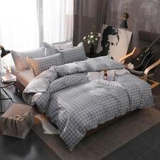 Simple Grey Plaid Cotton Bedding Set Quilt Duvet Doona Cover Twin Queen King