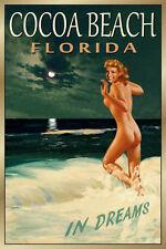 COCOA BEACH Florida New Original Retro Travel Poster Marilyn PinUp Art Print 169