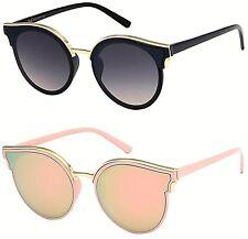 New Sunglasses Ladies Women Flat Lens Mirrored Cat Eye Big Shield Aviator Retro