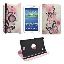 """pour Samsung Galaxy Tab 3 7 """" fleur rouge imprimé papillon rotatif de 360 housse"""