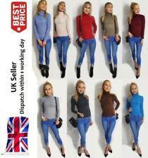 Débardeur Femme Volants Col Haut Tricot Manches Longues Cropped Pull Homme UK 8-14