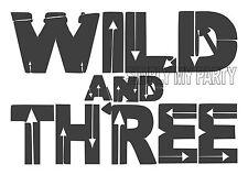 WILD AND THREE - IRON ON TRANSFER - 3RD BIRTHDAY BOHO - GREY T-SHIRT TRANSFER
