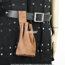Medieval Suede Leather Drawstring Belt Pouch Bag Renaissance Faire LARP Costume
