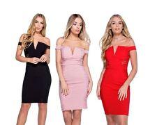 Mini Vestido panel de Encaje para Damas Mujeres corto de bodycon Bardot desgaste del partido 8 10 12 14