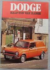 1978 Dodge Half-Ton van Brochure Pub.No. 1062/10/78