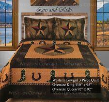Western Star Horse shoe Cowboy Boot Quilt Bedspread Comforter 3 Pcs Oversize Set