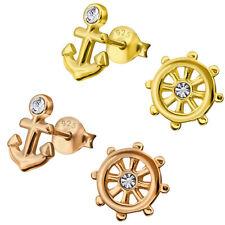 Anker Steuerrad Ohrstecker 925 Silber rosé gold Damen Ohrringe  Maritim Geschenk
