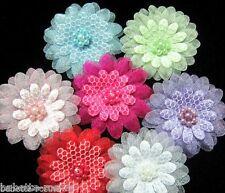 LOT de 3 Appliques Fleur ORGANZA et perles cousues main  40mm - couture scrap
