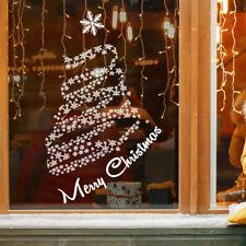 Christmas Tree Window Sticker   Merry Christmas Window Decorations - Snow Storm