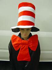 Kids Size - Dr Seuss Stripe Cat in the Hat Costume Hat and Bow Tie Fancy Dress