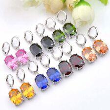 Latest Design Platinum Plated Charming Peridot Garnet Crystal Dangle Earrings