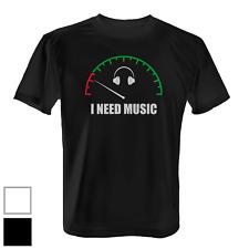 I Need Music Herren T-Shirt Fun Shirt Spruch Musik Tankanzeige Feiern Party Neu