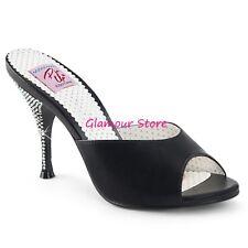 Sexy SANDALI STRASS sabot tacco 11 dal 35 al 41 NERO, ORO, ROSA scarpe GLAMOUR