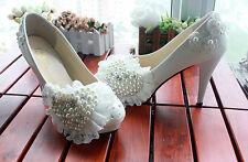 Escarpin éscarpins chaussures pour femmes blanc dentelle perles jeune mariée 11