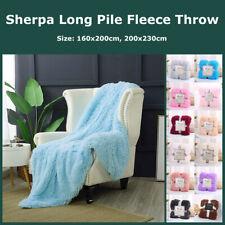 Long Pile Plush Sherpa Throw Blanket Super Soft Faux Fur Warm Shaggy Reversible
