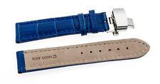 Uhrenarmband Kroko-Look Butterfly-Schließe XXL- blau 18mm  20mm 22mm 24mm