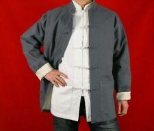 Lin Premium Col Mao Veste Gris Tai Chi Arts Martiaux Blouson Homme Tailleur