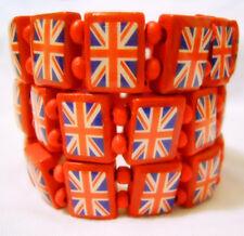 REGNO Unito Bandiera Britannica Union Jack Elastico Stretch Braccialetto in Legno FESTA REGALO 6 COLORI