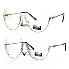 Womens Oversize Granny Upside Down Half Rim Clear Lens Eye Glasses
