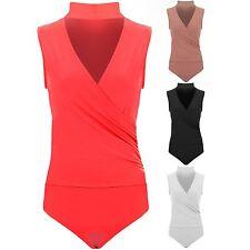 Ladies Sleeveless Low V Neck Wrap Gathered Choker Plunge Leotard Bodysuit