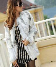 Real Farm Rabbit Fur Coat Outwear Jacket 2colour-Women's Furs Clothing beautiful