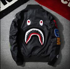 Men BAPE Japan Zip Aape Jacket MA1 Army Camouflage Shark Head Flight Bomber Coat