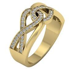 Knot Engagement Wedding Ring Si1 H 0.40Ct Round Diamond 14K Yellow Gold 9.50Mm