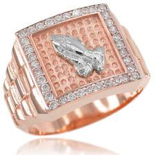 New Rose Gold Watchband Design Men's Religious Praying Hands CZ Ring