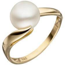 Anillo De Dama Con Perlas Agua Dulce Cultivada blanco, 585 oro Amarillo