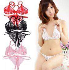 Sexy lady Women Lace Bra G-string Lingerie Set Underwear Nightwear Sleepwear-UK