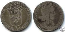 LOUIS XIII 1/4 ECU 1er POINCON 1642 A PARIS 2 POINTS !!