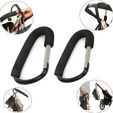 Hard Aluminum Buckle Carabiner D-Ring Keychain Clip Hook Pram Stroller Bag Hooks