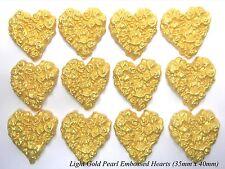 12 gold pearl sucre rose coeurs en relief doré décorations de gâteau de mariage 35mm