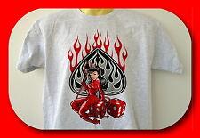 T-Shirt,M-5XLSexy Devil,Old School,Vintage,Teufelin,Plus Sizes,Übergröße,Grau