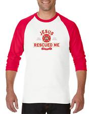 Gildan Raglan T-shirt 3/4 Sleeve Christian Jesus Rescued Me Firefighter