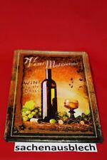 Wein Vino Blechschild 20x30 cm  - Vino Mediterrano Blechschild  2/4  gr.Trauben