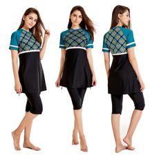 Lady Print Short Sleeve Swimwear Muslim Modest Swimsuit Women Beach Swim Clothes