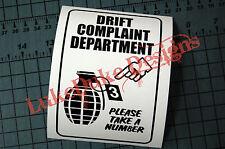 DRIFT COMPLAINT Sticker Decal Vinyl JDM Euro Drift Lowered illest Fatlace Vdub