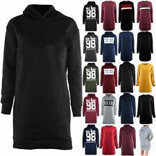 Womens Ladies Hooded Loose Fit Sweatshirt Oversized Sweater Fleece Jumper Dress
