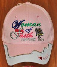 Woman of Faith Christian Hat Ball Cap Pink Purple I Love Jesus Proverbs 31:30