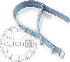 Uhrenarmband - Dorn- Nylon Militär- blau-grau gestreift  (Wasserfest) 18mm