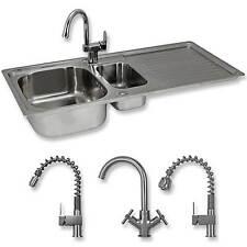 Kitchen Sink 1.5 Bowl Stainless Steel Kitchen Sinks Reversible Double Basin Taps