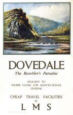 Vintage LMS Dovedale Peak District Railway Poster A4/A3/A2/A1 Print