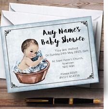 VINTAGE BABY BOY IN Washtub personalizzata Baby Shower inviti